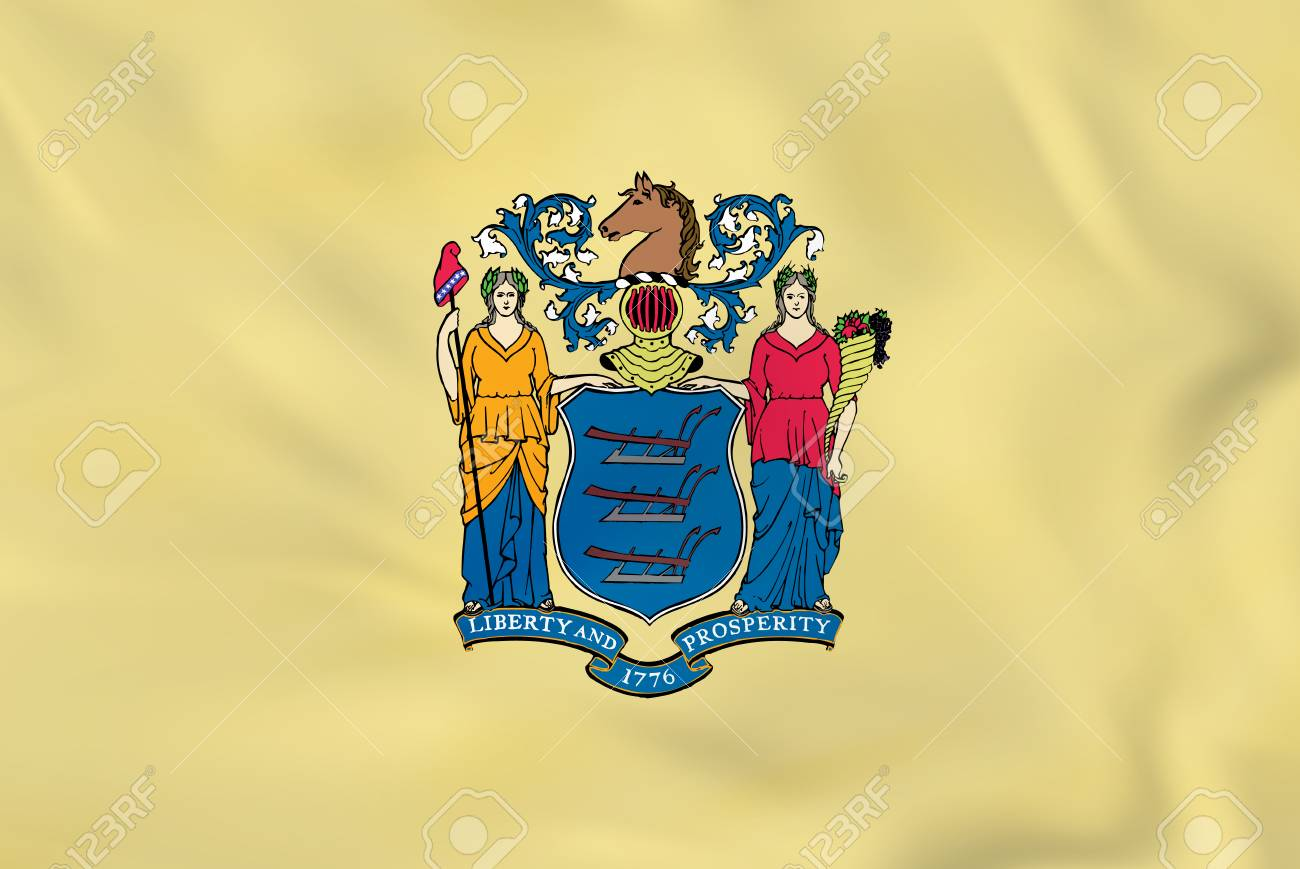 New Jersey waving flag. New Jersey state flag background texture.Vector illustration. - 76974634