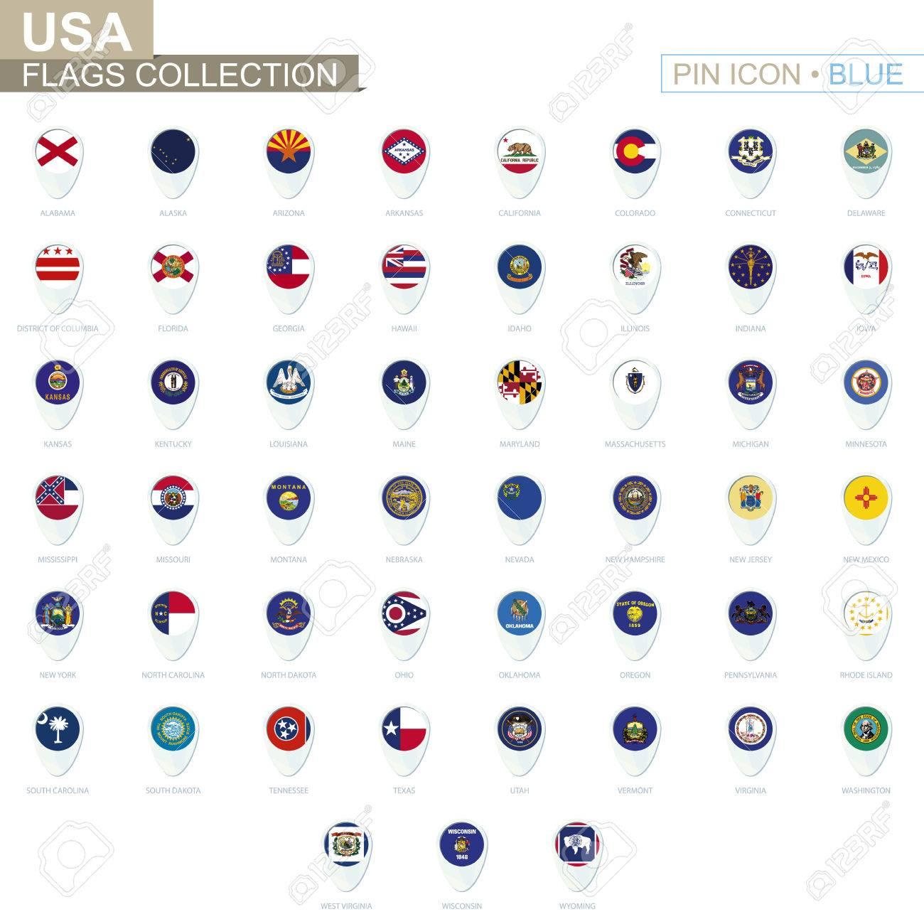 Usa State Fahnen Sammlung Grosse Reihe Von Blauen Pin Symbol Mit
