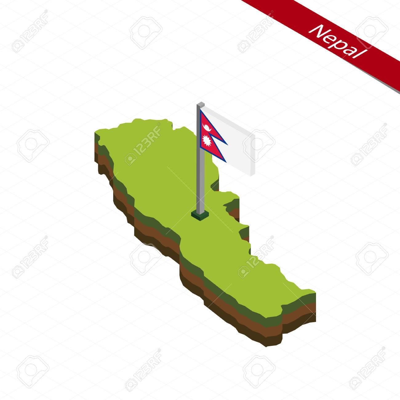 Isometric Map And Flag Of Nepal. 3D Isometric Shape Of Nepal ...