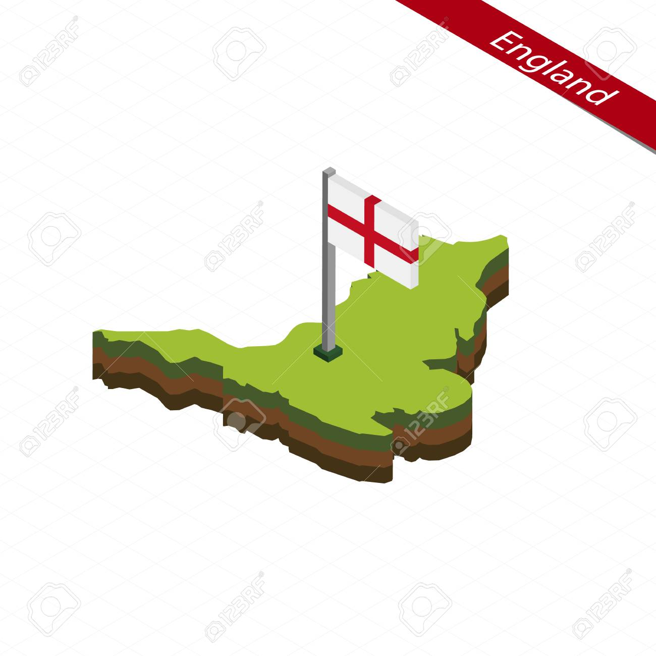3d Map Of England.Isometric Map And Flag Of England 3d Isometric Shape Of England