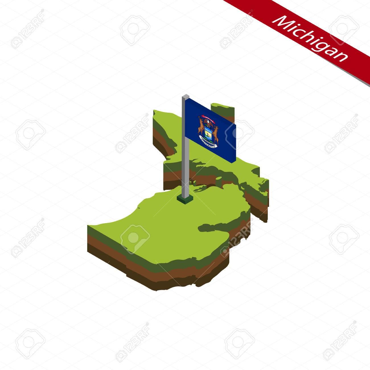 Mapa Isométrico Y Bandera De Michigan. Forma Isométrica 3D Del ...