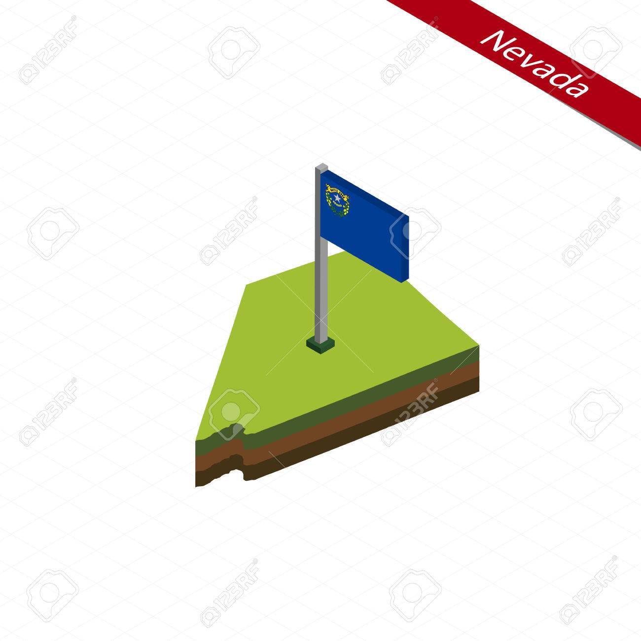 Isometric Map And Flag Of Nevada 3d Isometric Shape Of Nevada Royalty Free Cliparts Vectors And Stock Illustration Image 80396559
