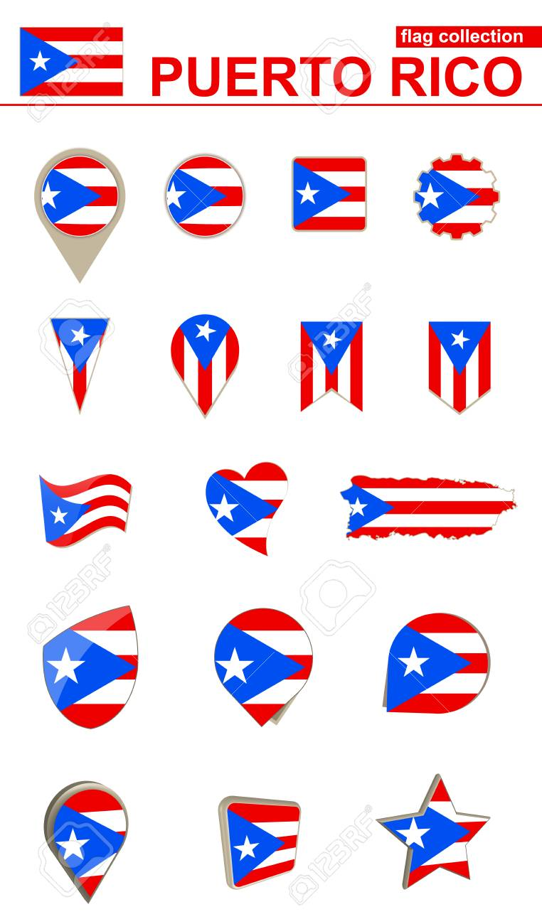 Puerto Rico Flag Collection Big Set For Design Vector Illustration Stock