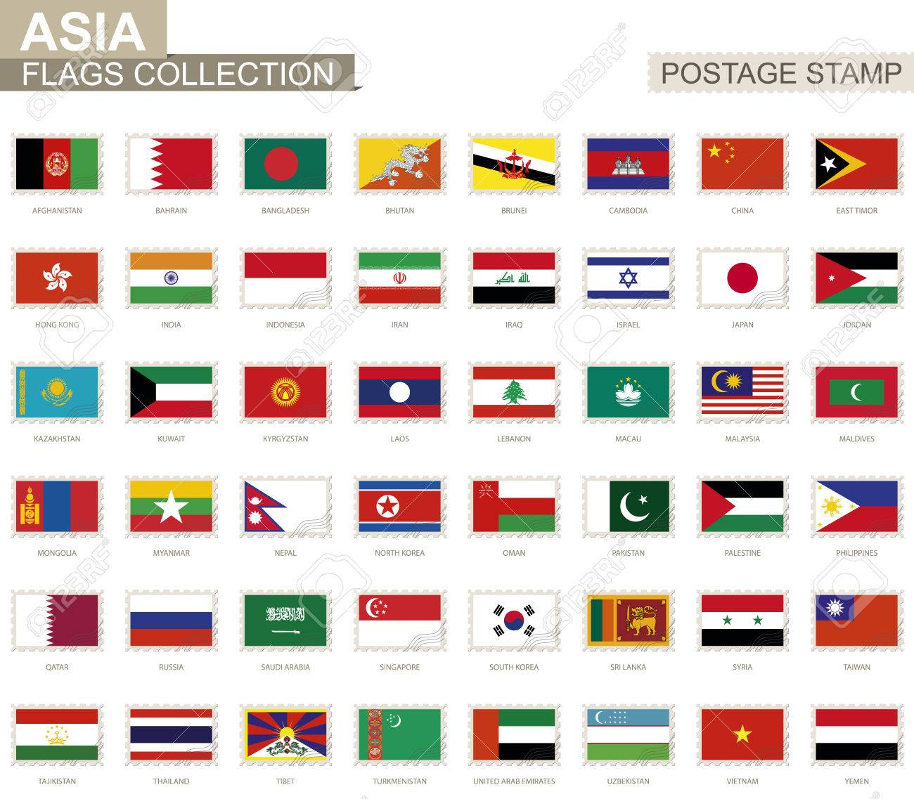 postage stamp with asia flags set of 48 asian flag vector