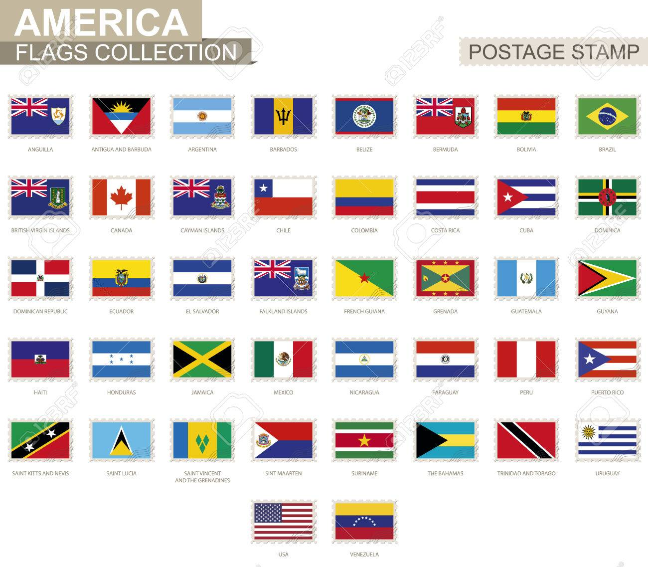 postage stamp with america flags set of 42 american flag vector