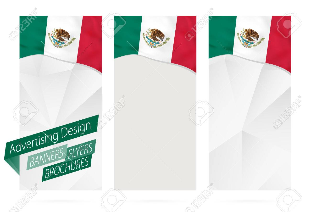 design of banners flyers brochures with flag of mexico leaflet template for website