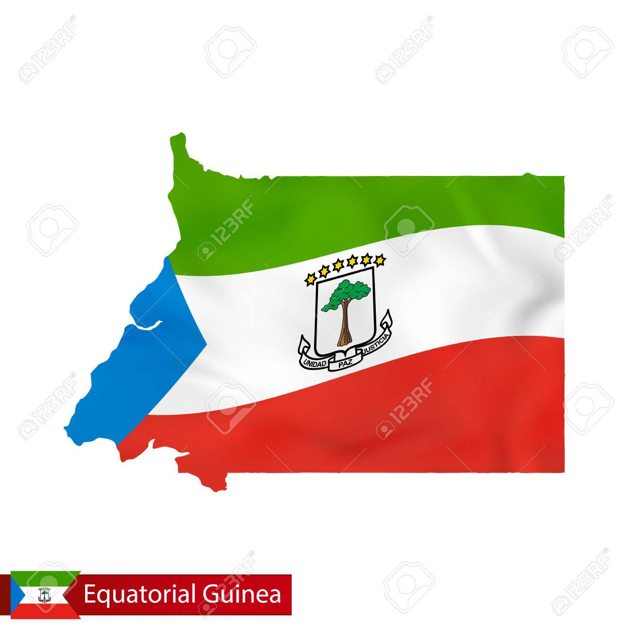 Equatorial Guinea Map With Waving Flag Of Country. Vector ...