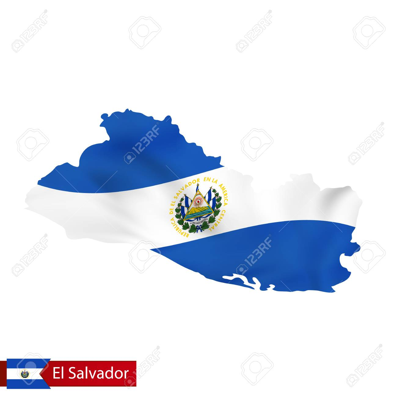 El Salvador Map With Waving Flag Of Country. Vector Illustration ...