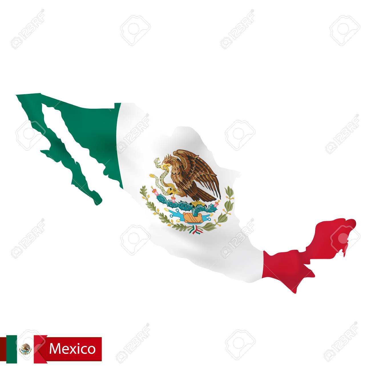 mexico map with waving flag of country vector illustration royalty rh 123rf com