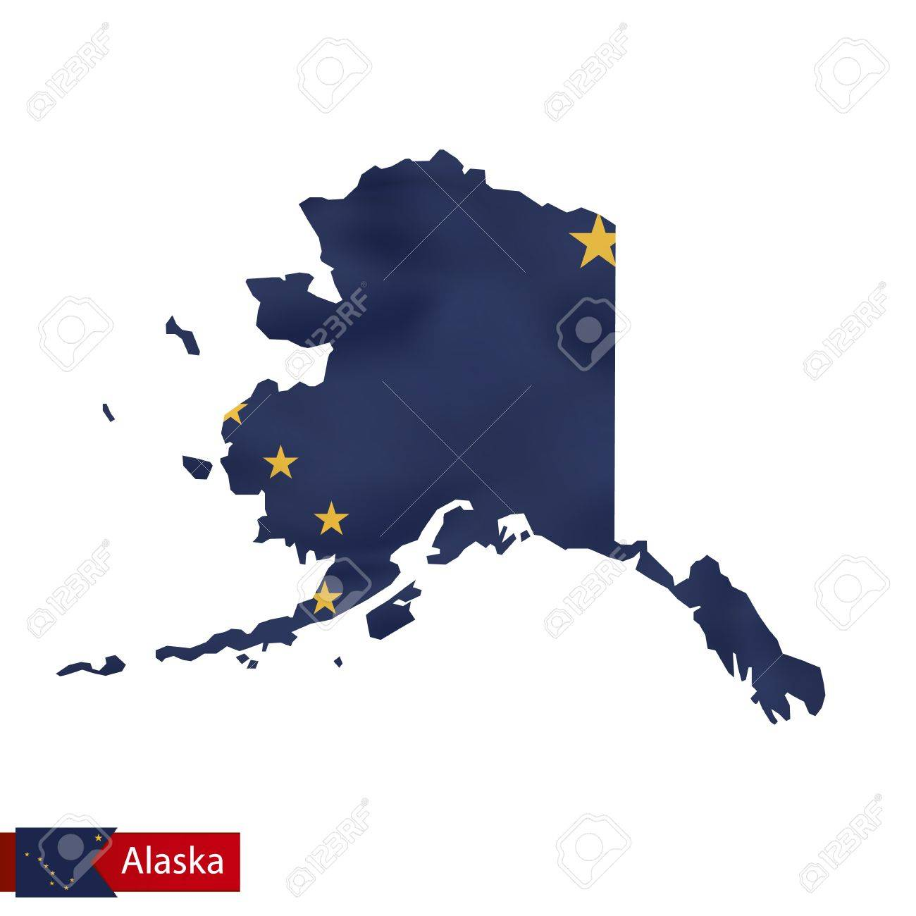 Alaska State Map With Waving Flag Of Us State Vector Illustration - Map-of-alaska-over-the-us