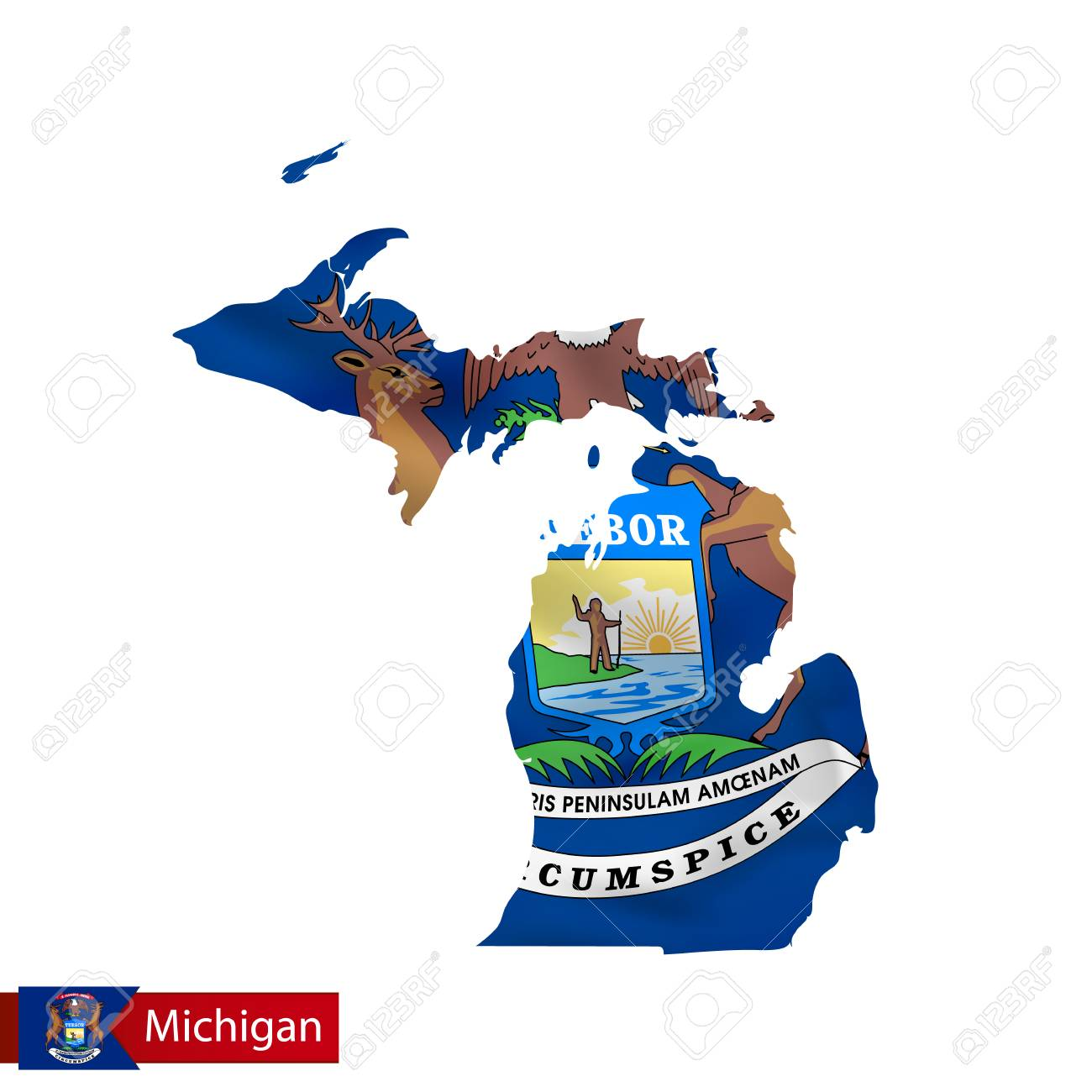 Michigan State Map With Waving Flag Of Us State Vector Illustration - Us-map-michigan-state