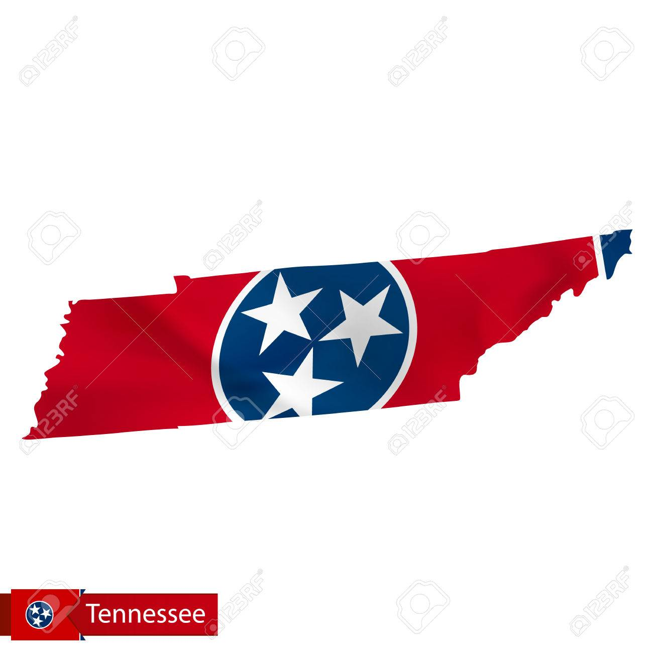 Tennessee State Map With Waving Flag Of Us State Vector
