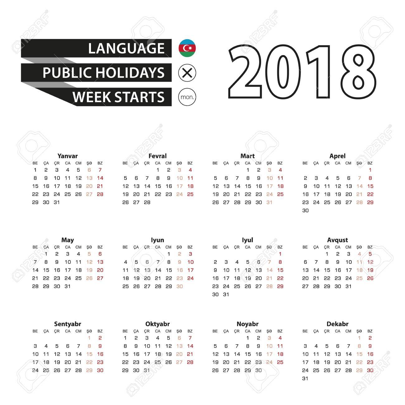 アゼルバイジャン語の言語の暦 2018 年。週は月曜日から始まります ...
