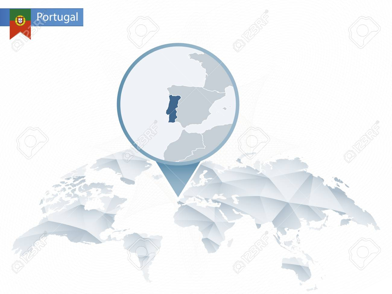 Portugal On The World Map.Abstract Rounded World Map With Pinned Detailed Portugal Map