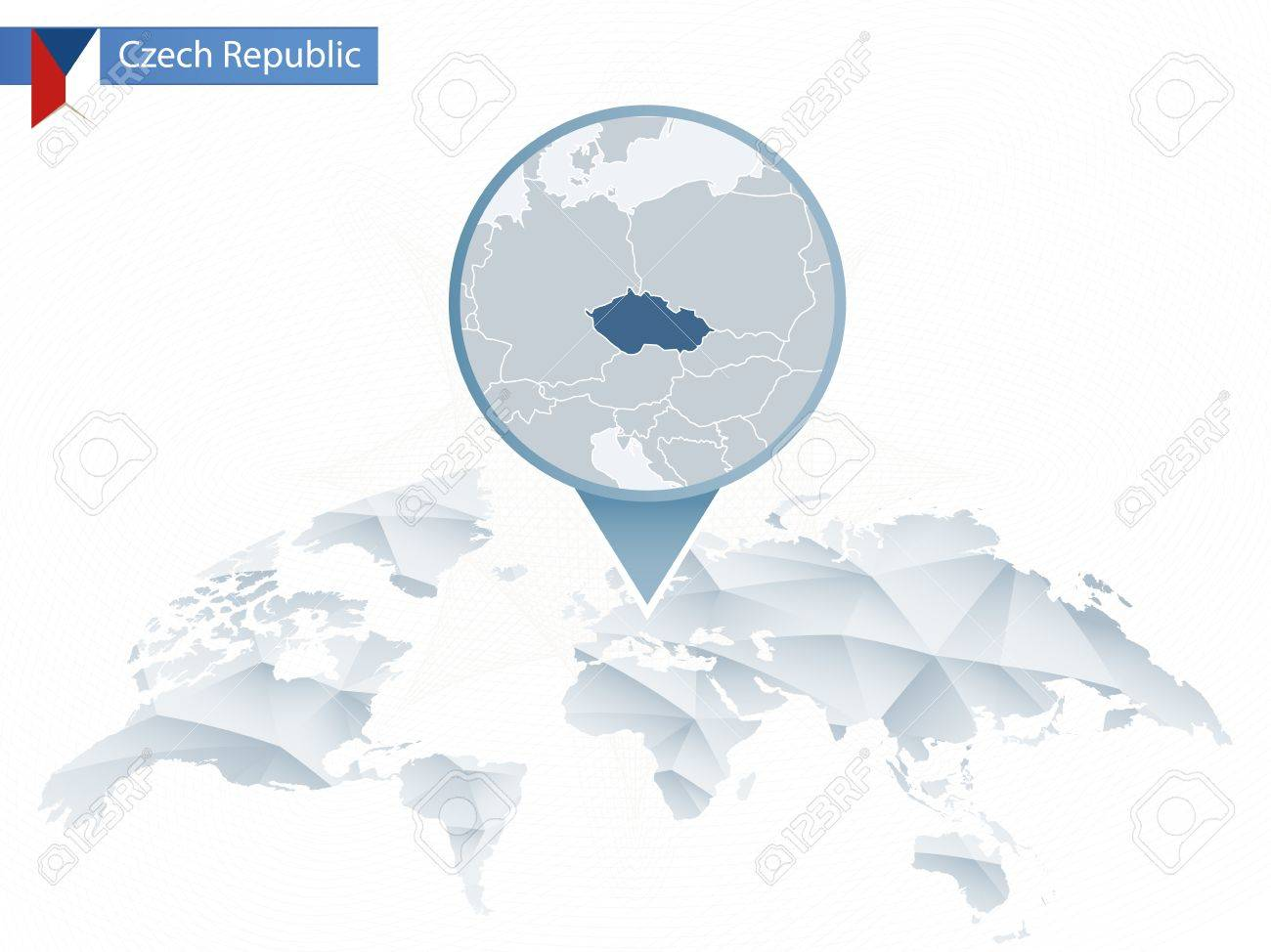 Picture of: Abstract Rounded World Map With Pinned Detailed Czech Republic Royalty Free Cliparts Vectors And Stock Illustration Image 86133400