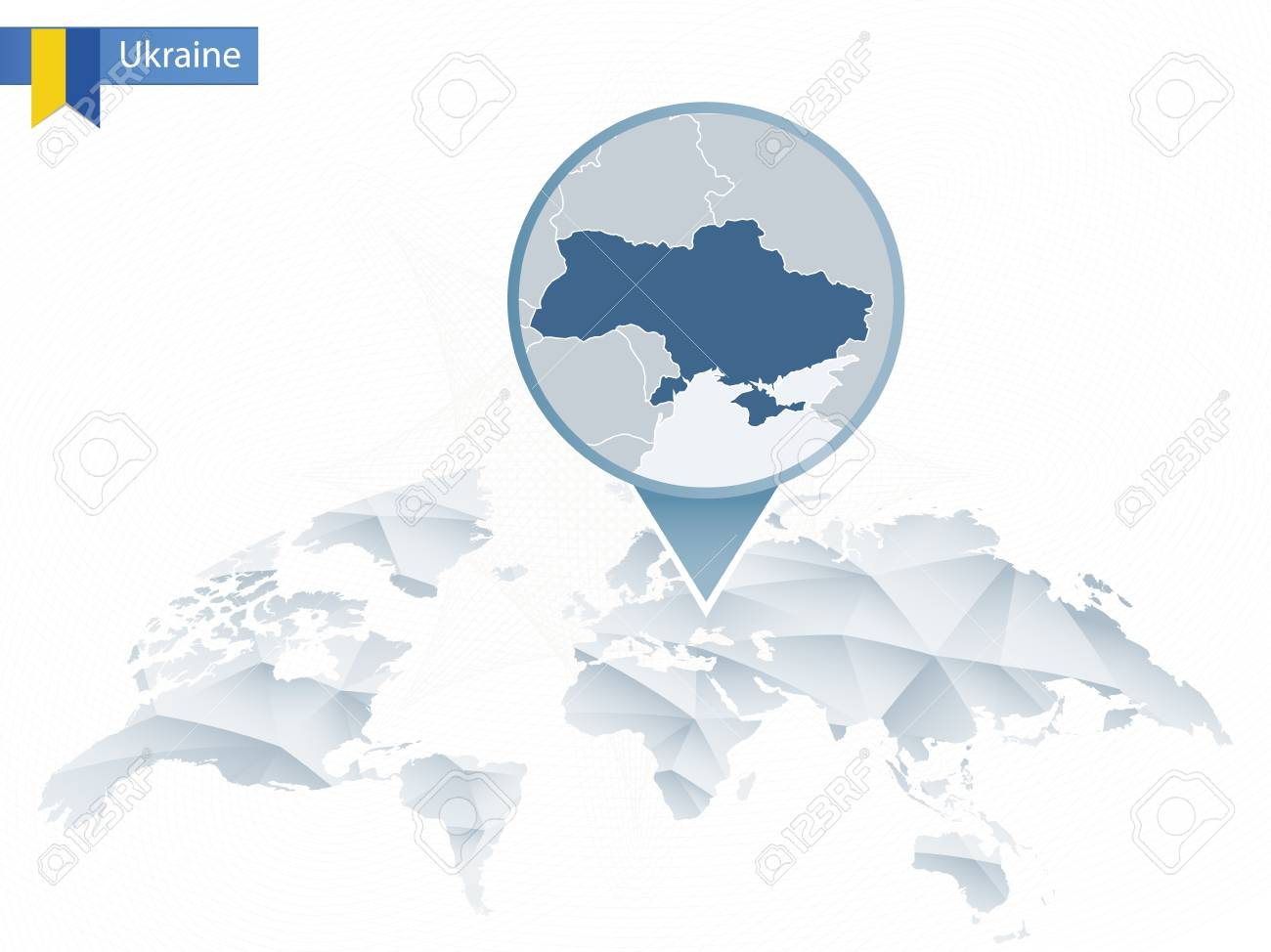 Abstract Rounded World Map With Pinned Detailed Ukraine Map