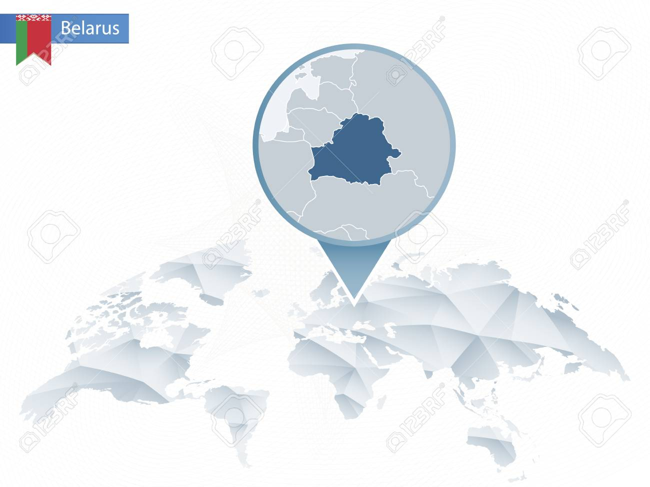 Abstract Rounded World Map With Pinned Detailed Belarus Map