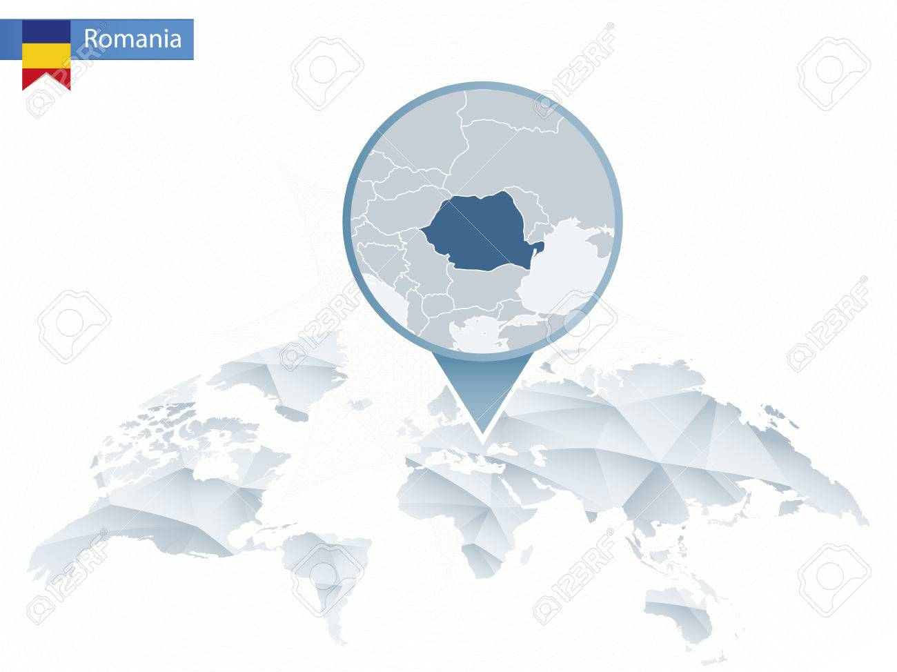 Abstract Rounded World Map With Pinned Detailed Romania Map