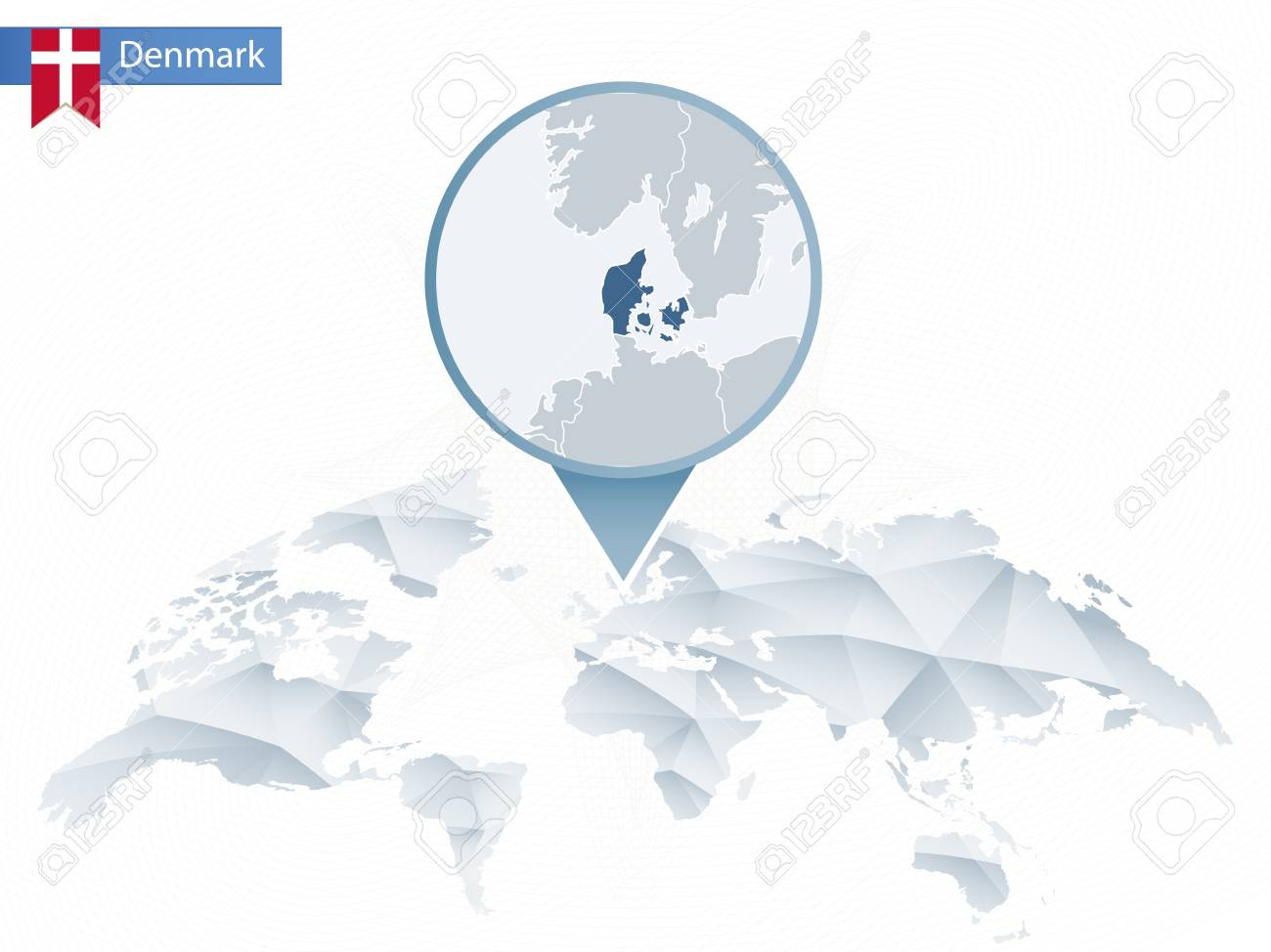 World Map Of Denmark.Abstract Rounded World Map With Pinned Detailed Denmark Map