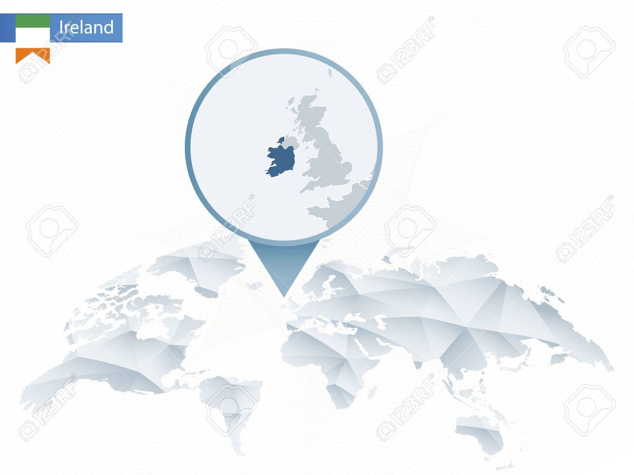 Abstract rounded World Map with pinned detailed Ireland map...