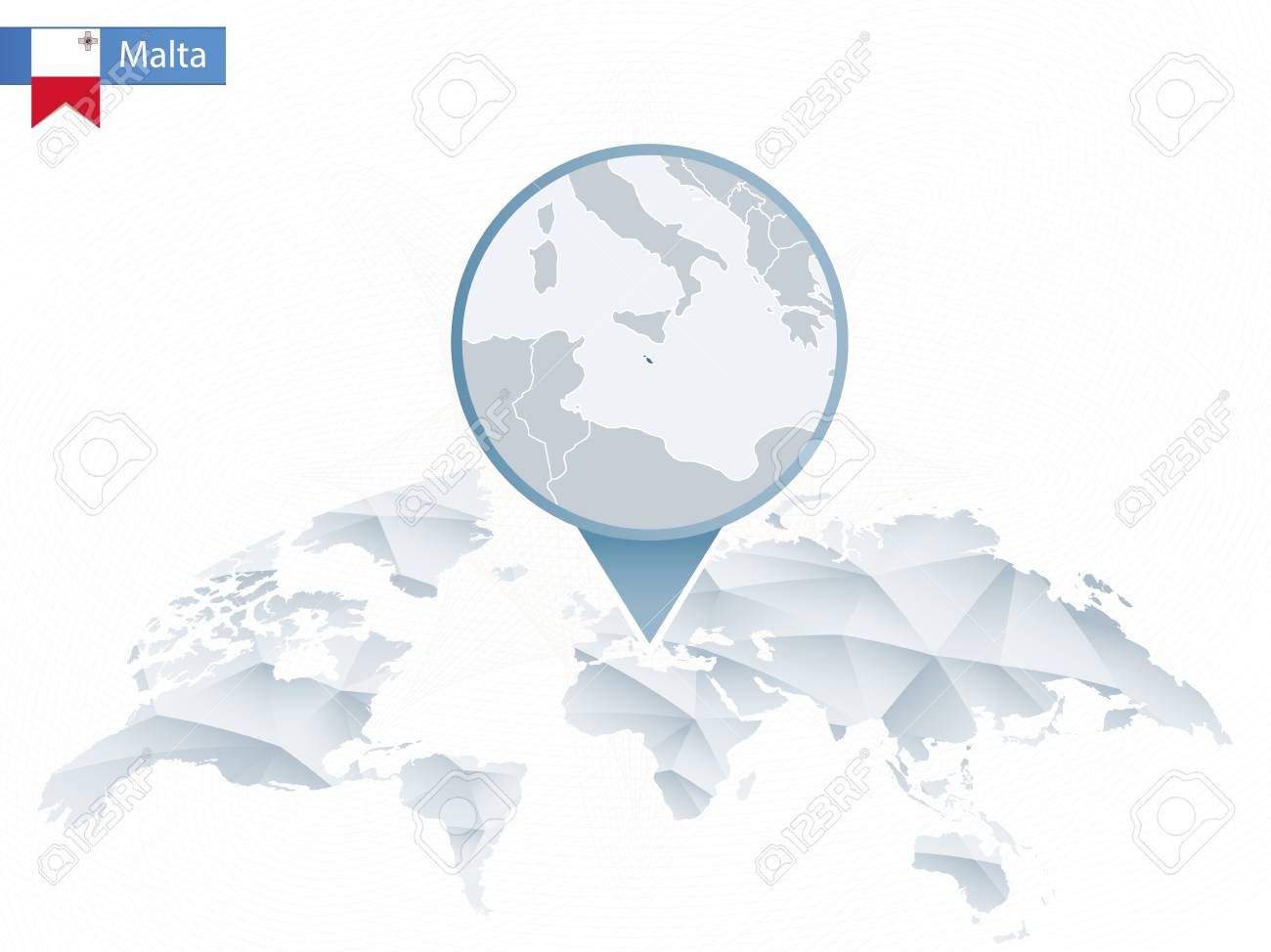 Abstract Rounded World Map With Pinned Detailed Malta Map. Vector ...