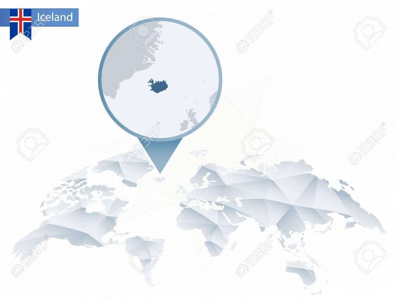 Abstract rounded world map with pinned detailed iceland map abstract rounded world map with pinned detailed iceland map vector illustration stock vector gumiabroncs Image collections