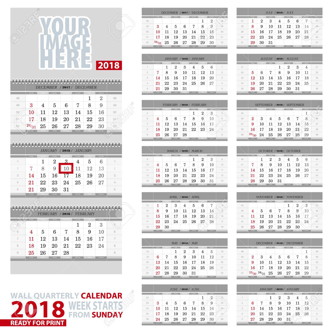 Wall Quarterly Calendar 2018 Royalty Free Cliparts Vectors And