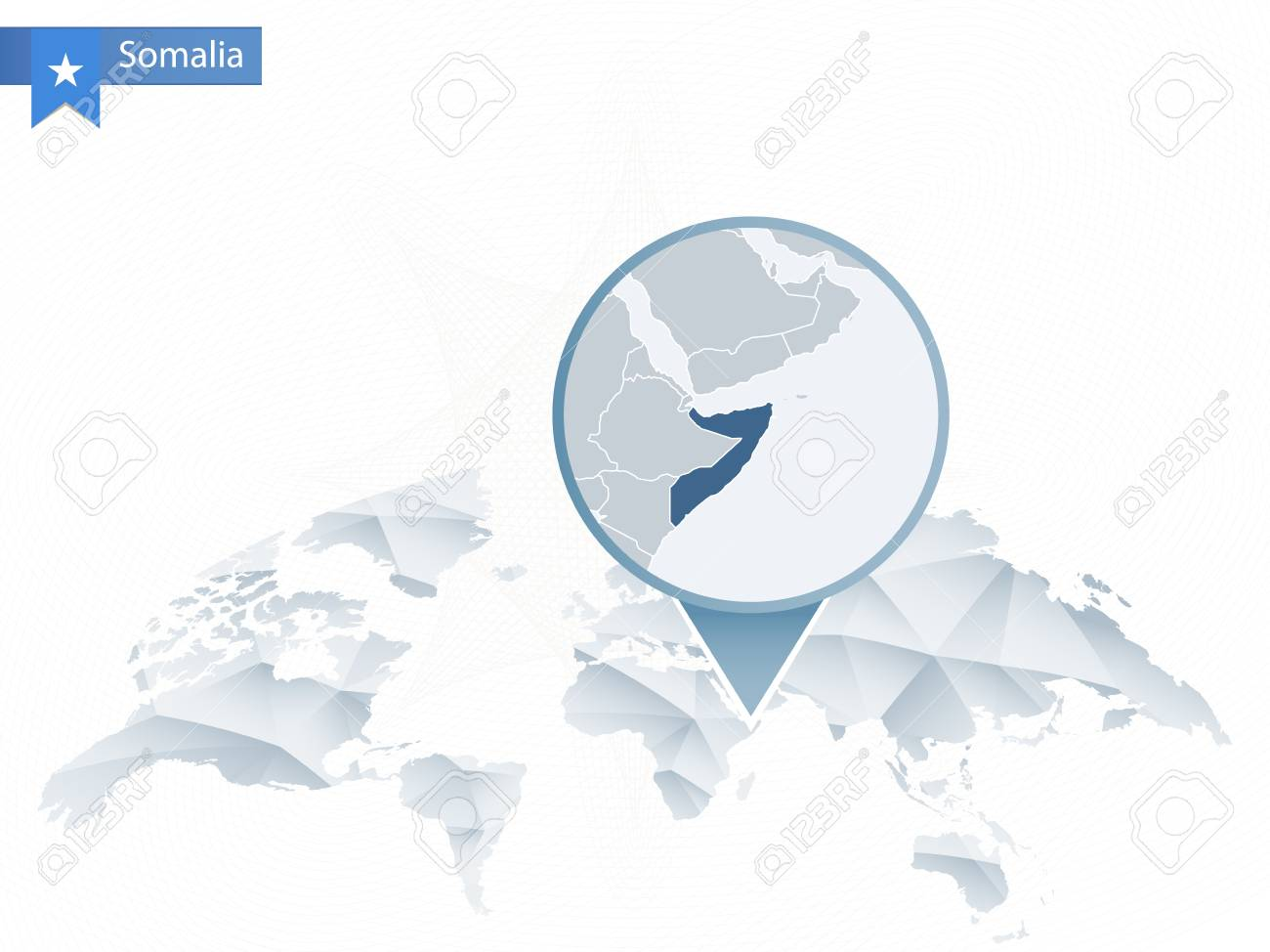 World Map Somolia.Abstract Rounded World Map With Pinned Detailed Somalia Map Royalty