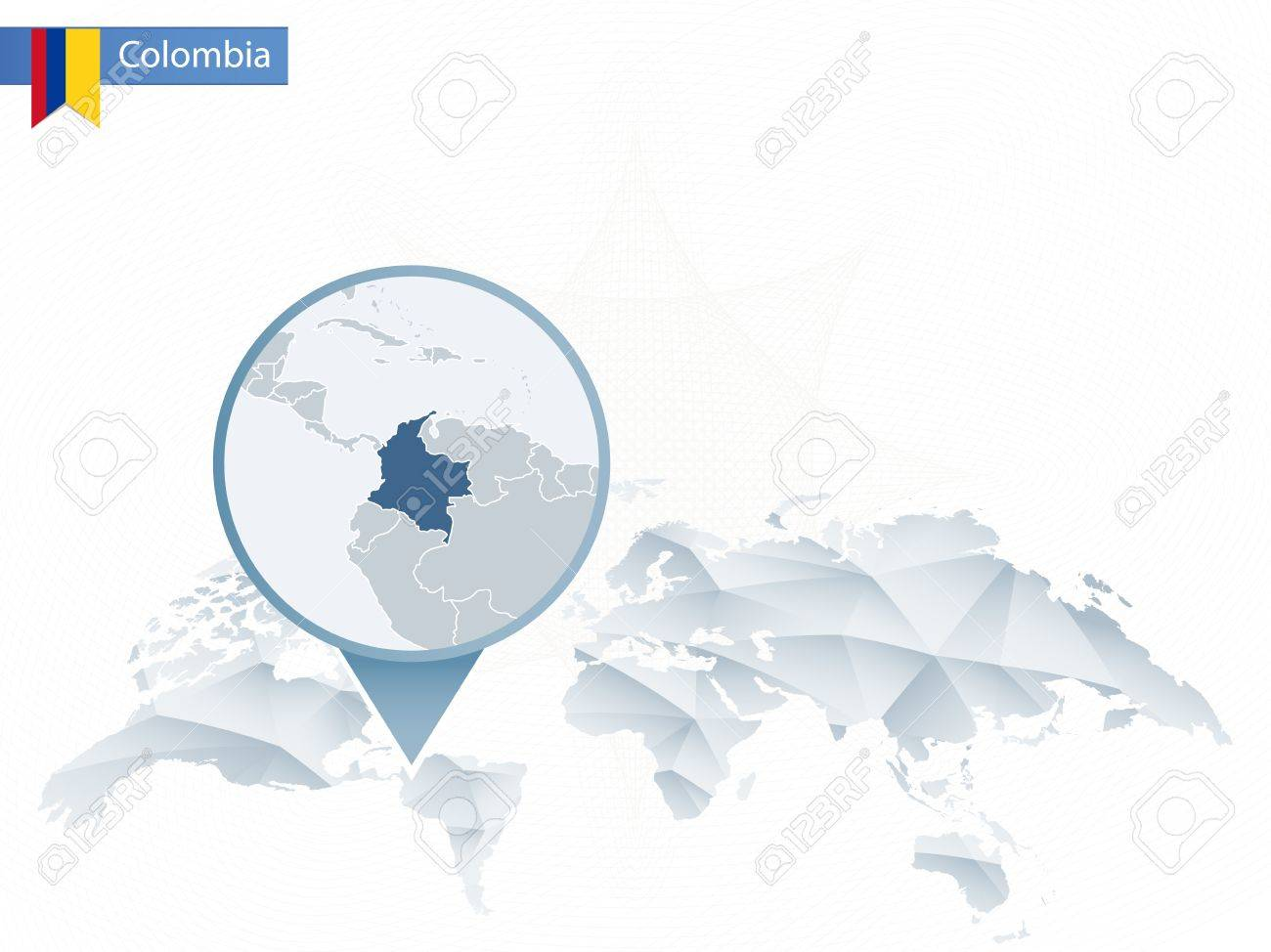 Abstract Rounded World Map With Pinned Detailed Colombia Map ...