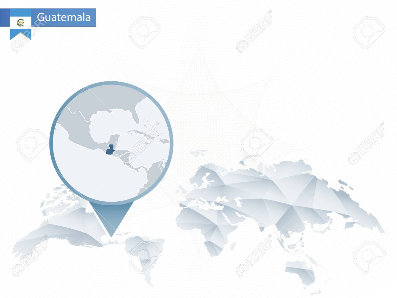 Abstract rounded world map with pinned detailed guatemala map abstract rounded world map with pinned detailed guatemala map vector illustration stock vector publicscrutiny Choice Image