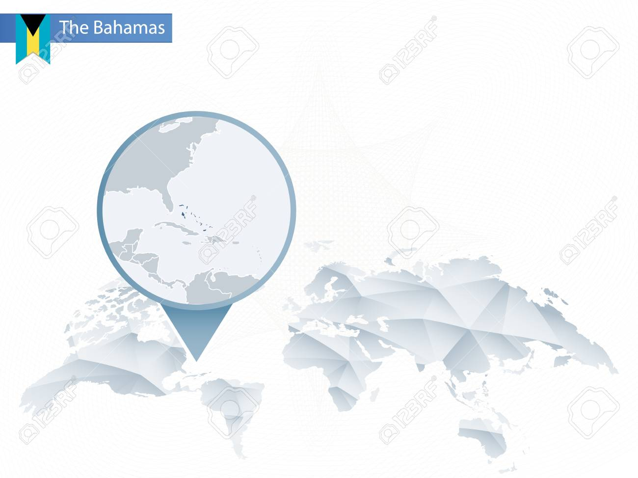 Abstract Rounded World Map With Pinned Detailed The Bahamas Map