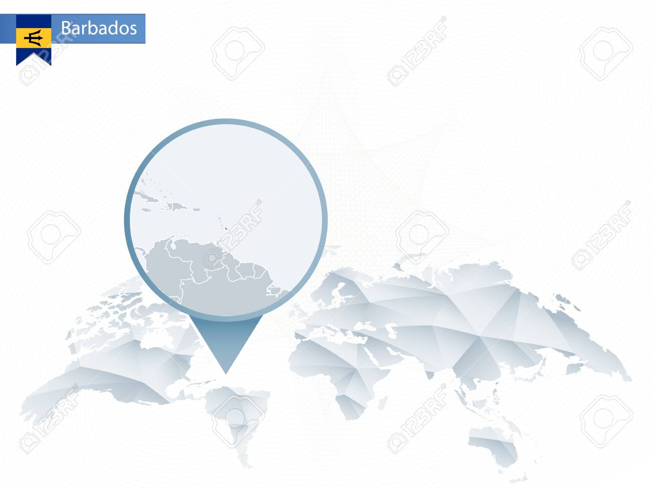 Picture of: Abstract Rounded World Map With Pinned Detailed Barbados Map Royalty Free Cliparts Vectors And Stock Illustration Image 86916264
