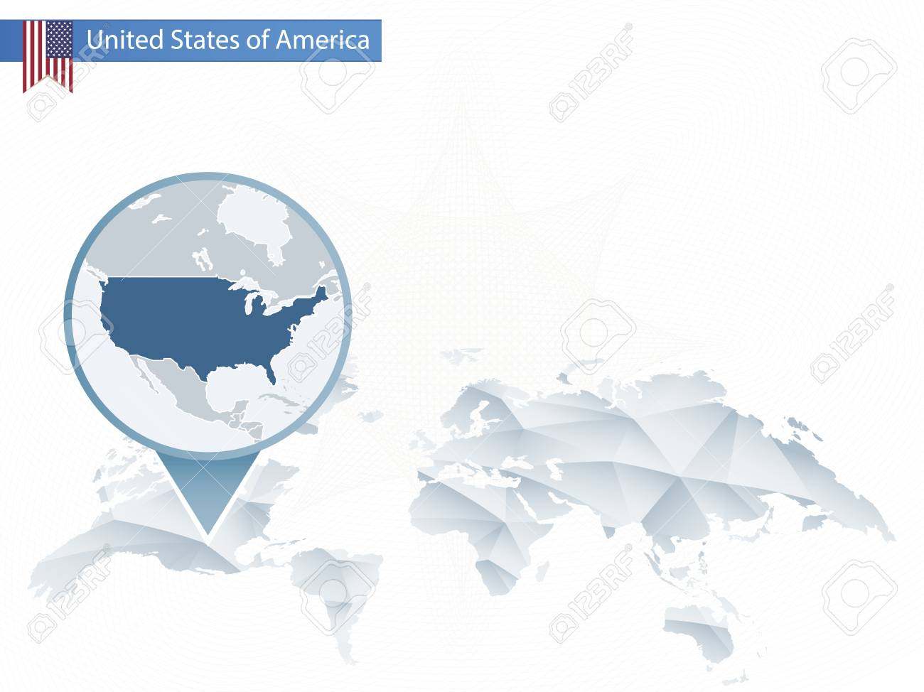 Abstract Rounded World Map With Pinned Detailed USA Map. Map ...