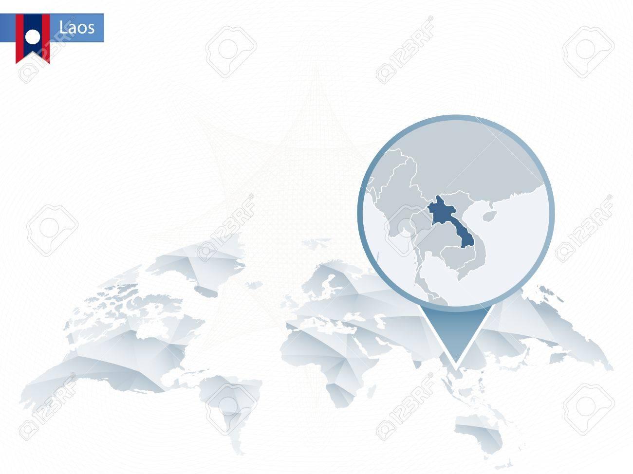 Carte Du Monde Laos.Carte Du Monde Arrondie Abstraite Avec Epingle Detaillee Carte Du