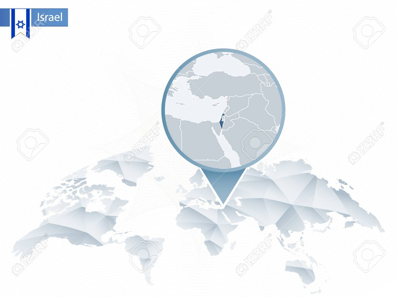 Israel On A Map Of The World.Abstract Rounded World Map With Pinned Detailed Israel Map Vector