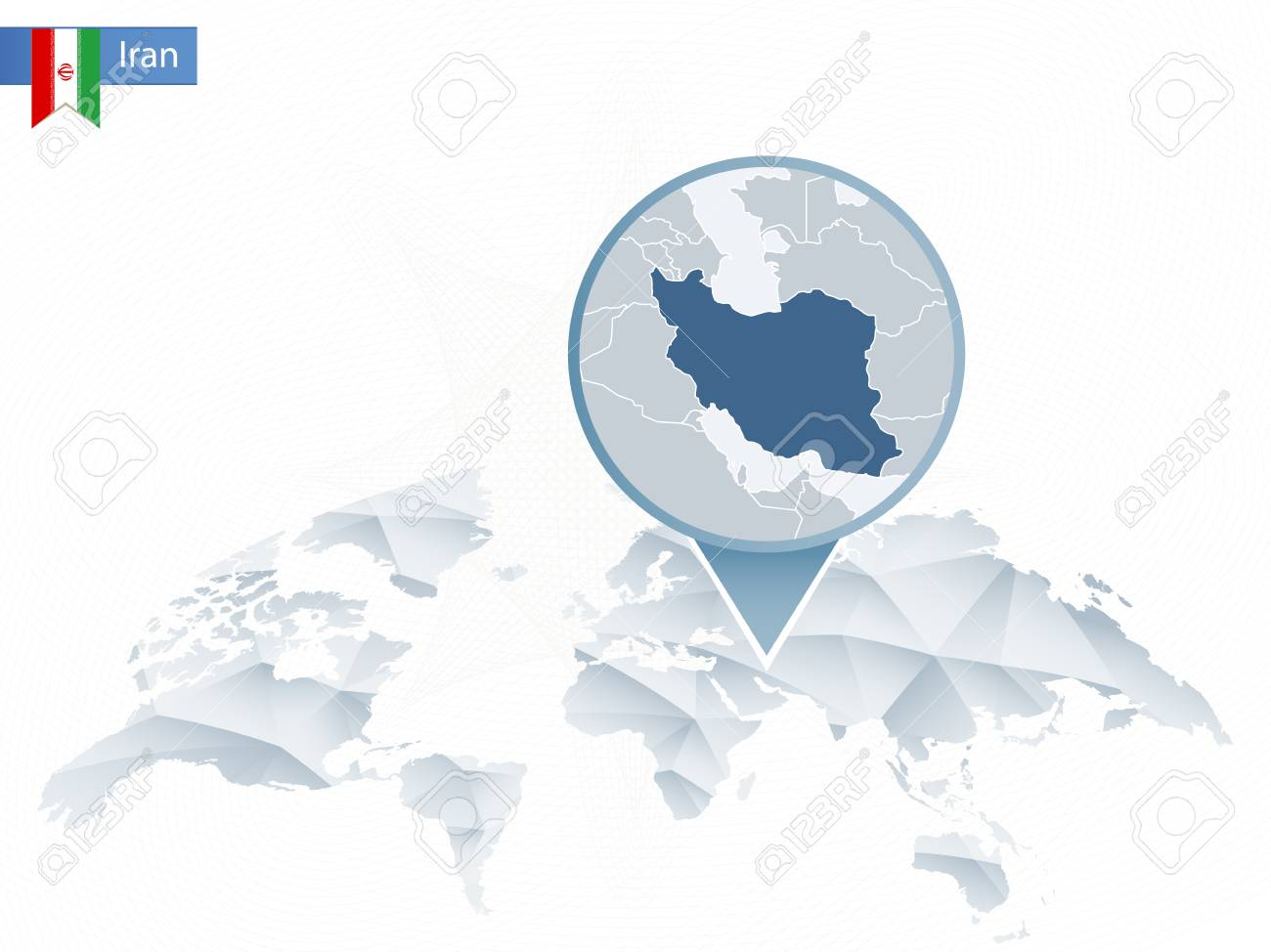Abstract rounded World Map with pinned detailed Iran map. Vector..