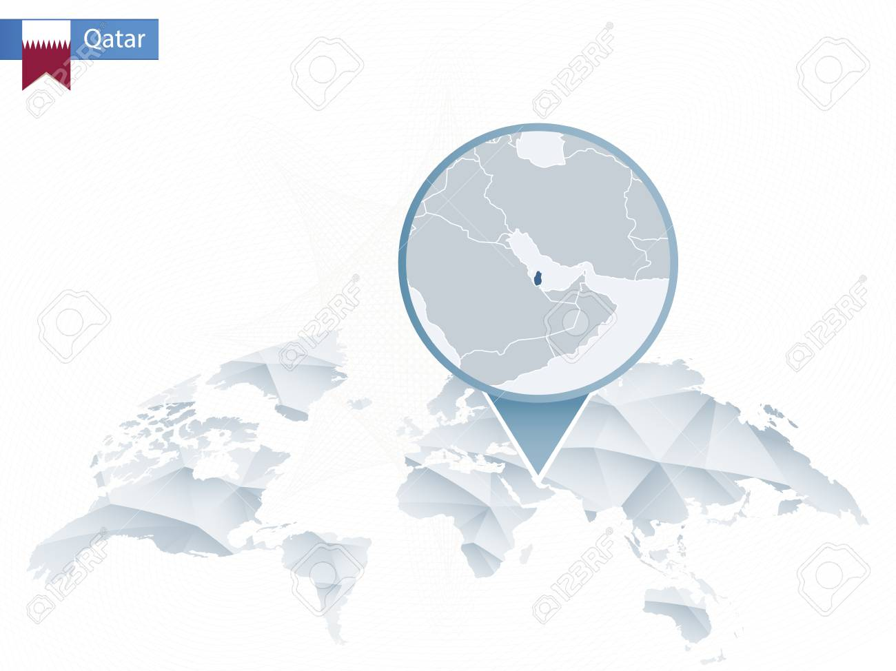 Abstract Rounded World Map With Pinned Detailed Qatar Map Vector