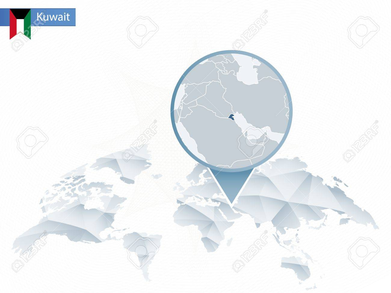 Abstract Rounded World Map With Pinned Detailed Kuwait Map Vector