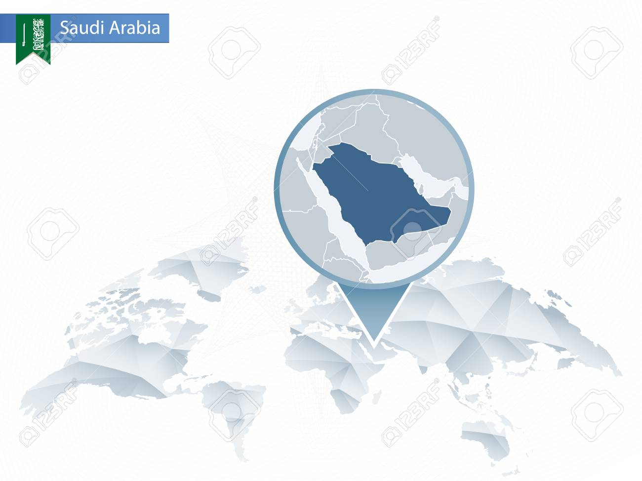 Abstract rounded World Map with pinned detailed Saudi Arabia..