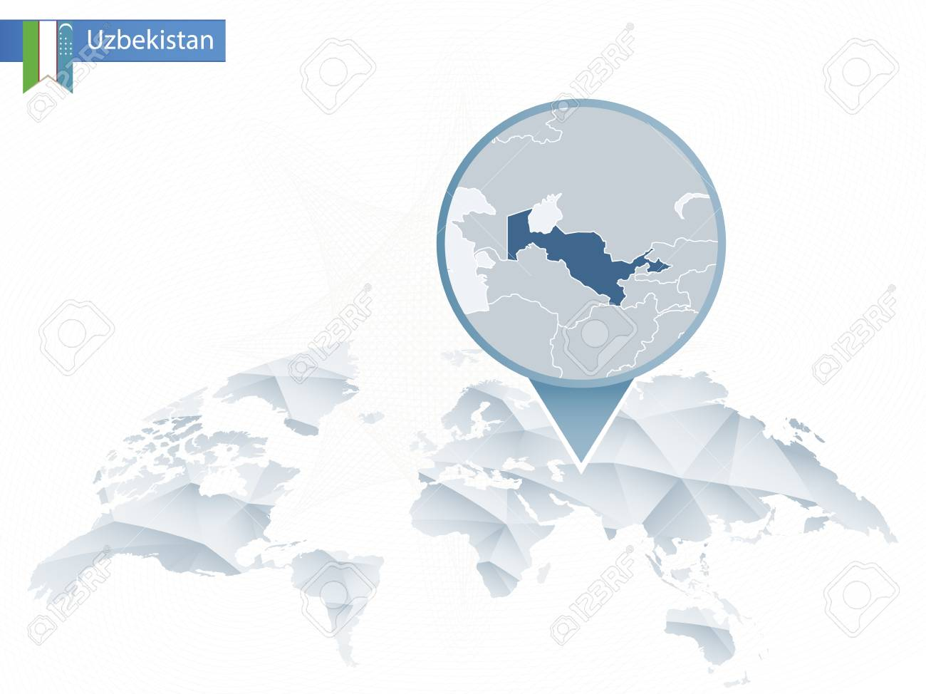 Abstract rounded World Map with pinned detailed Uzbekistan map