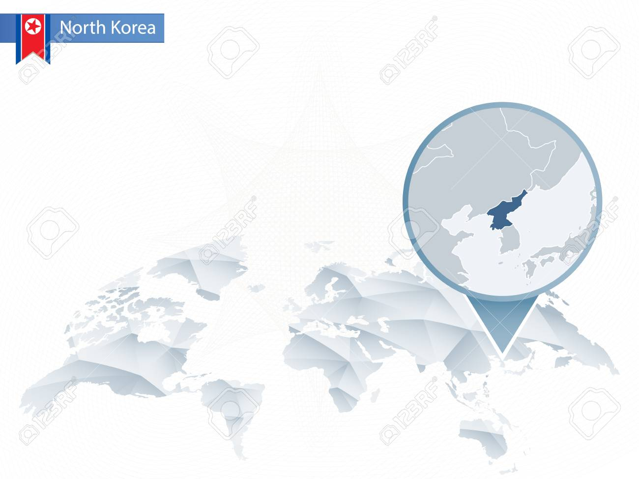 Abstract Rounded World Map With Pinned Detailed North Korea Map ...