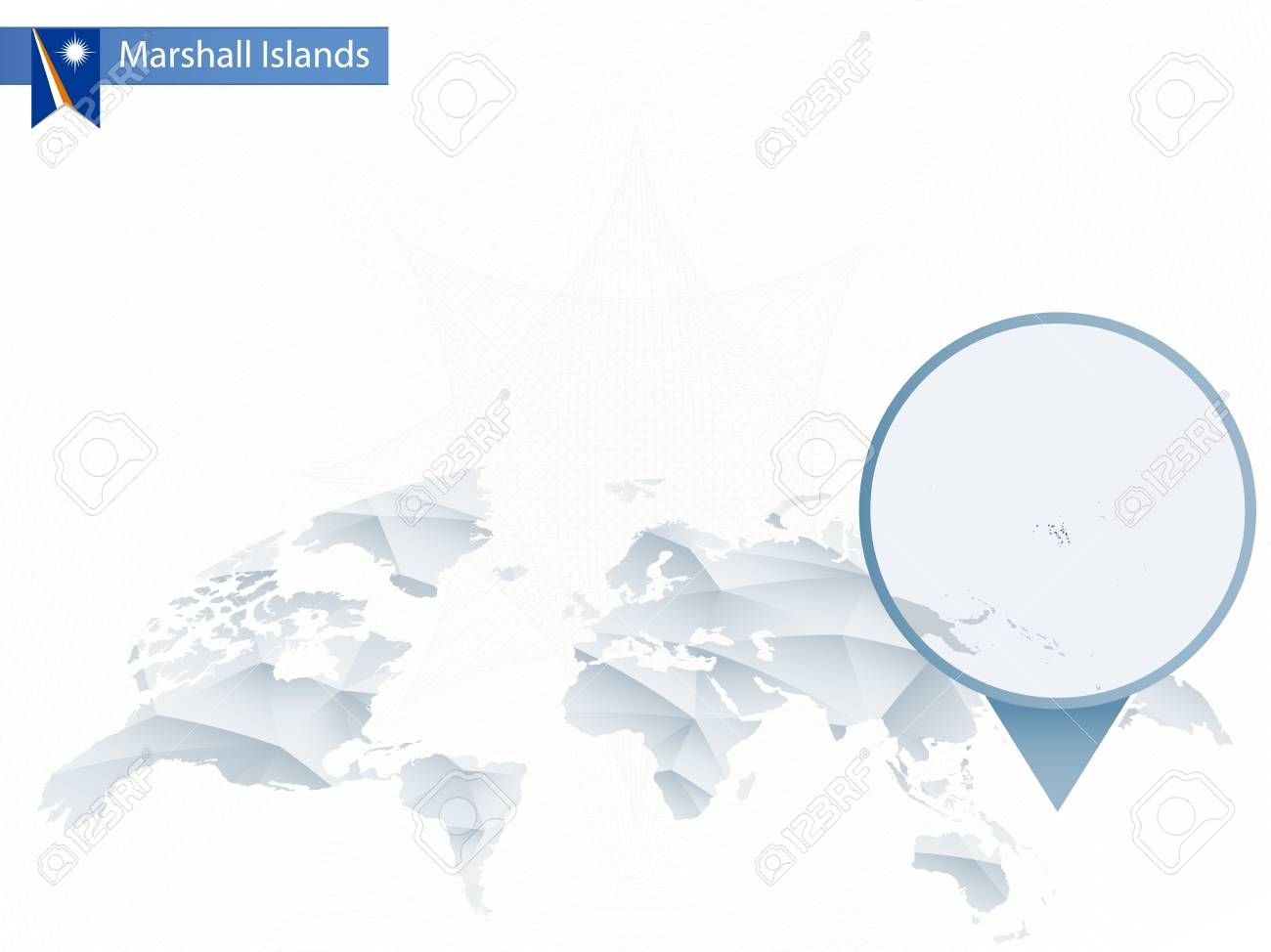 Abstract Rounded World Map With Pinned Detailed Marshall Islands ...