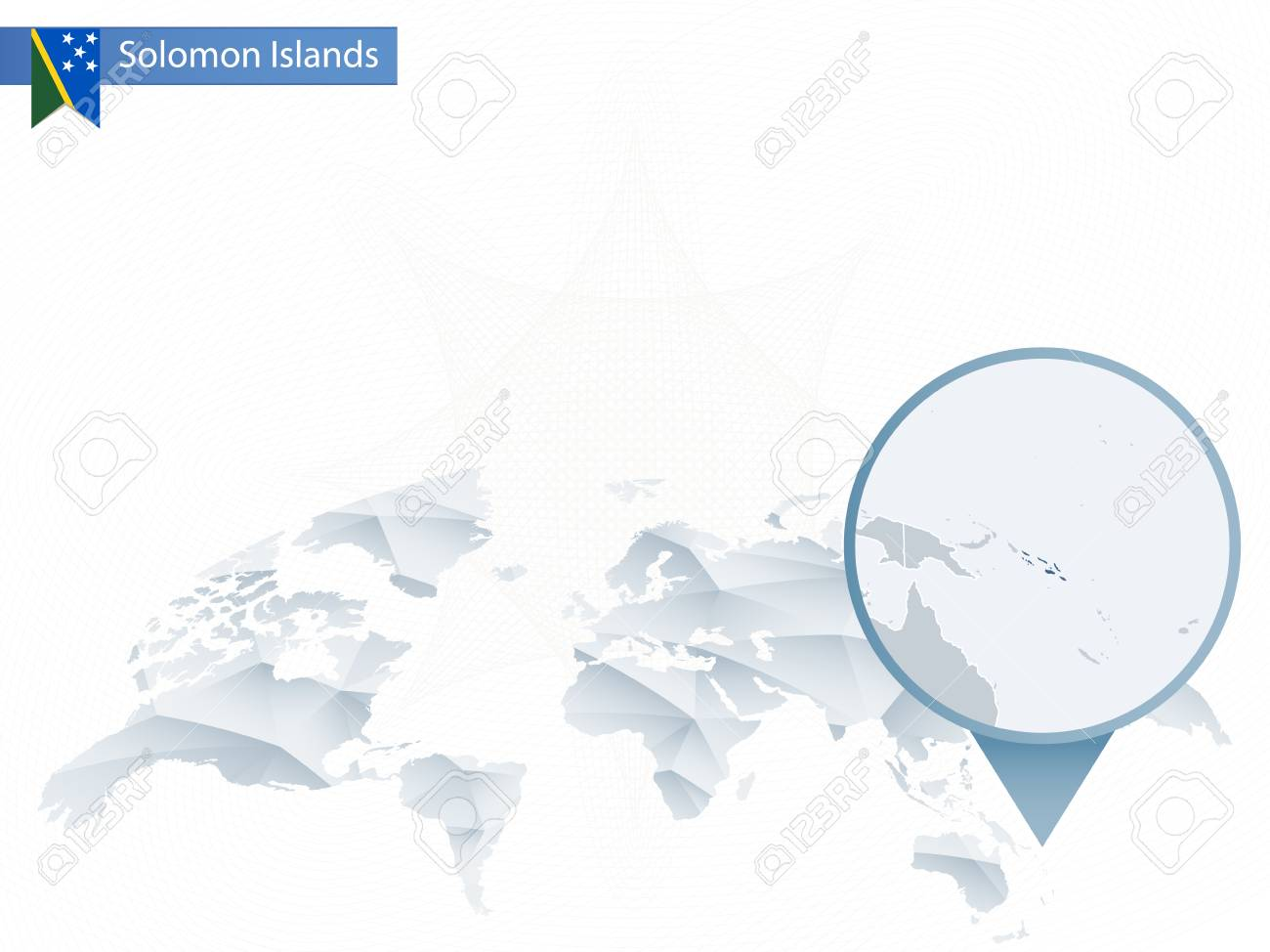 Solomon Islands World Map.Abstract Rounded World Map With Pinned Detailed Solomon Islands