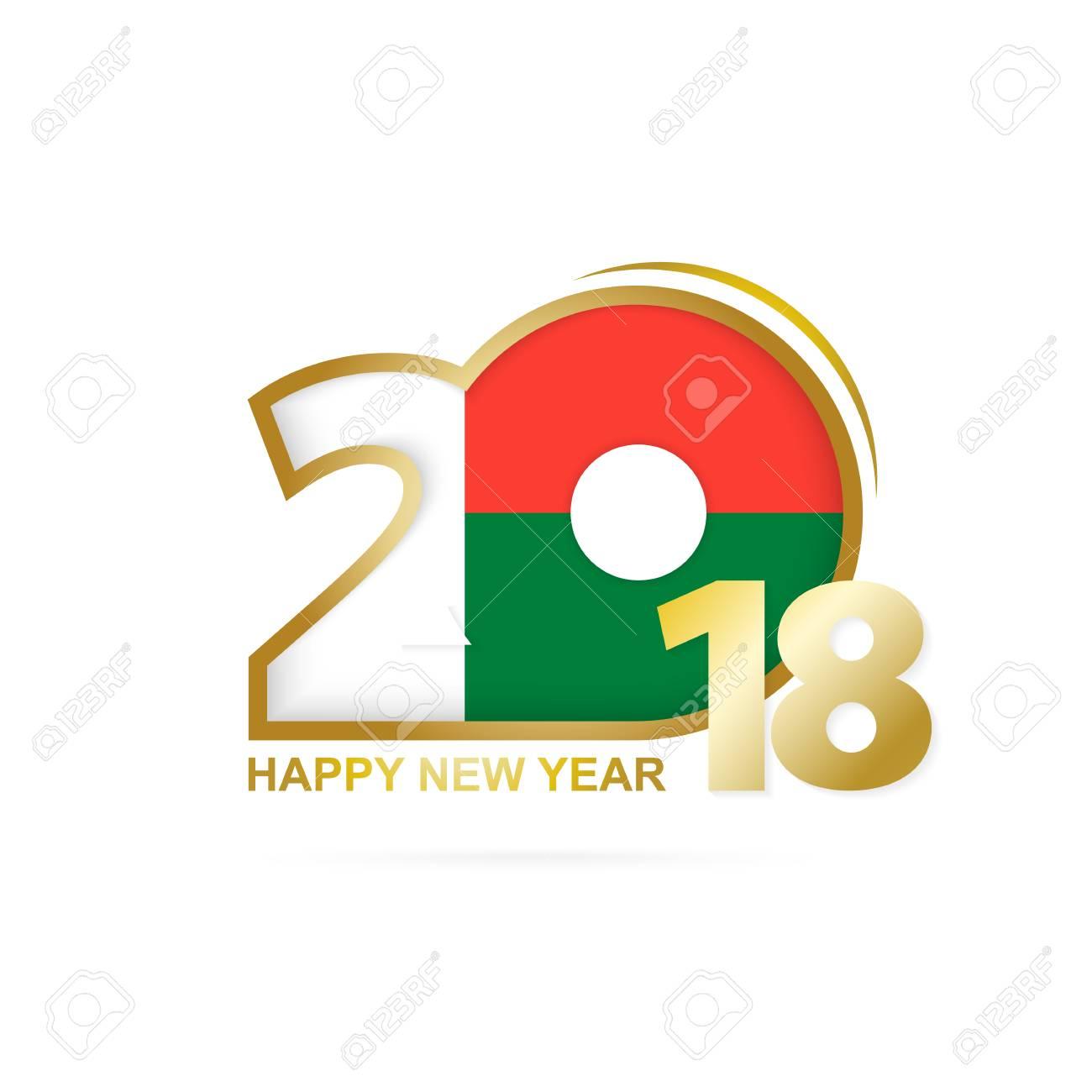 Year 2018 with Madagascar flag design. - 87571153