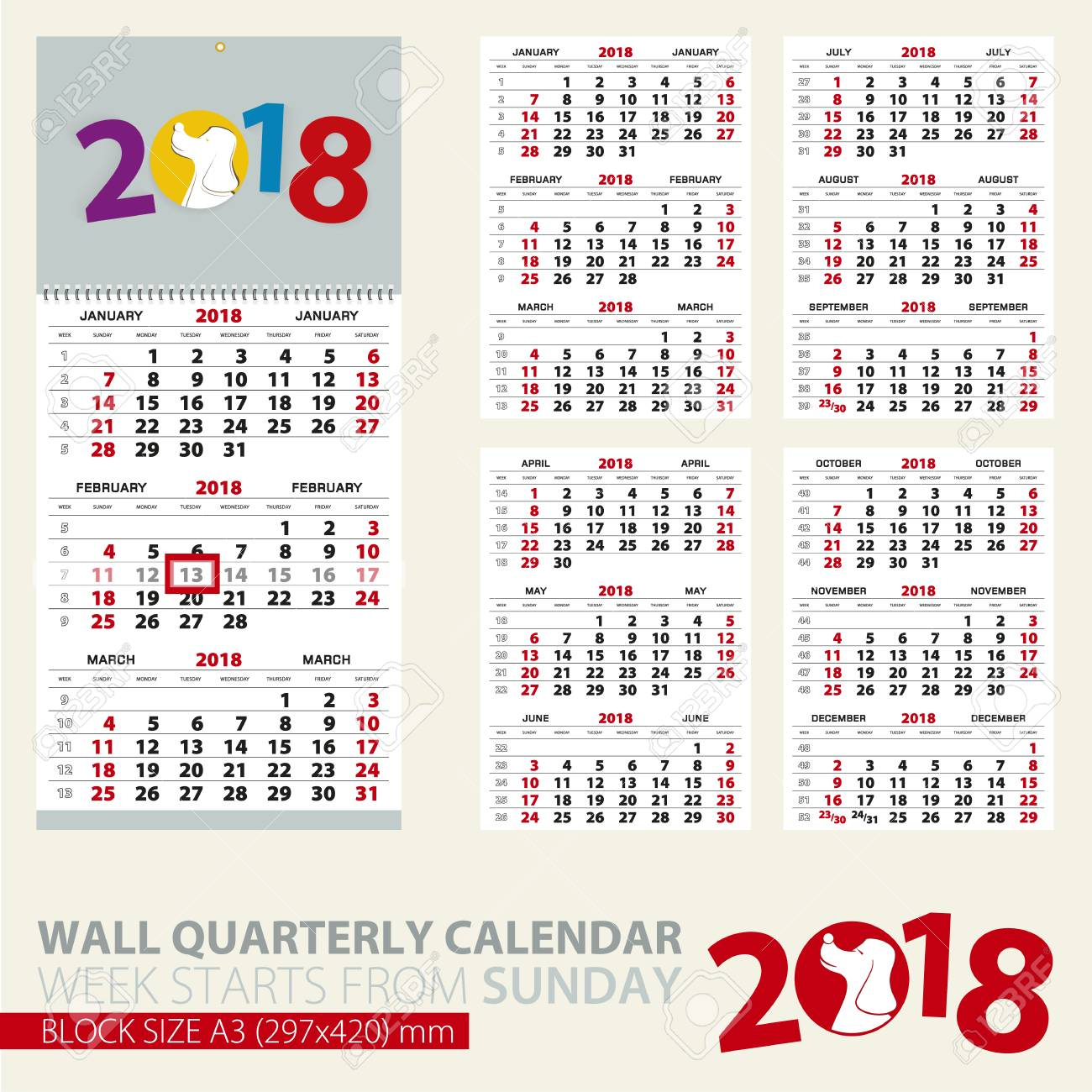 print template of wall quarterly calendar for 2018 year year of the dog block