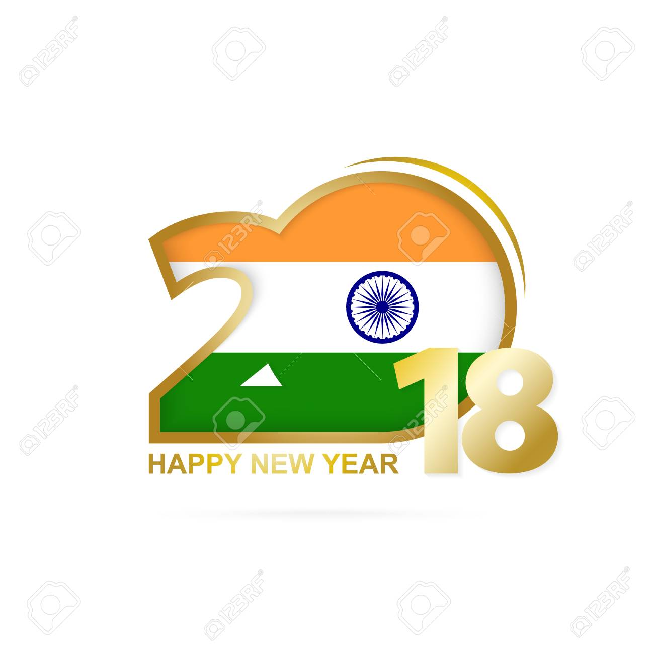 vector year 2018 with india flag pattern happy new year design vector illustration