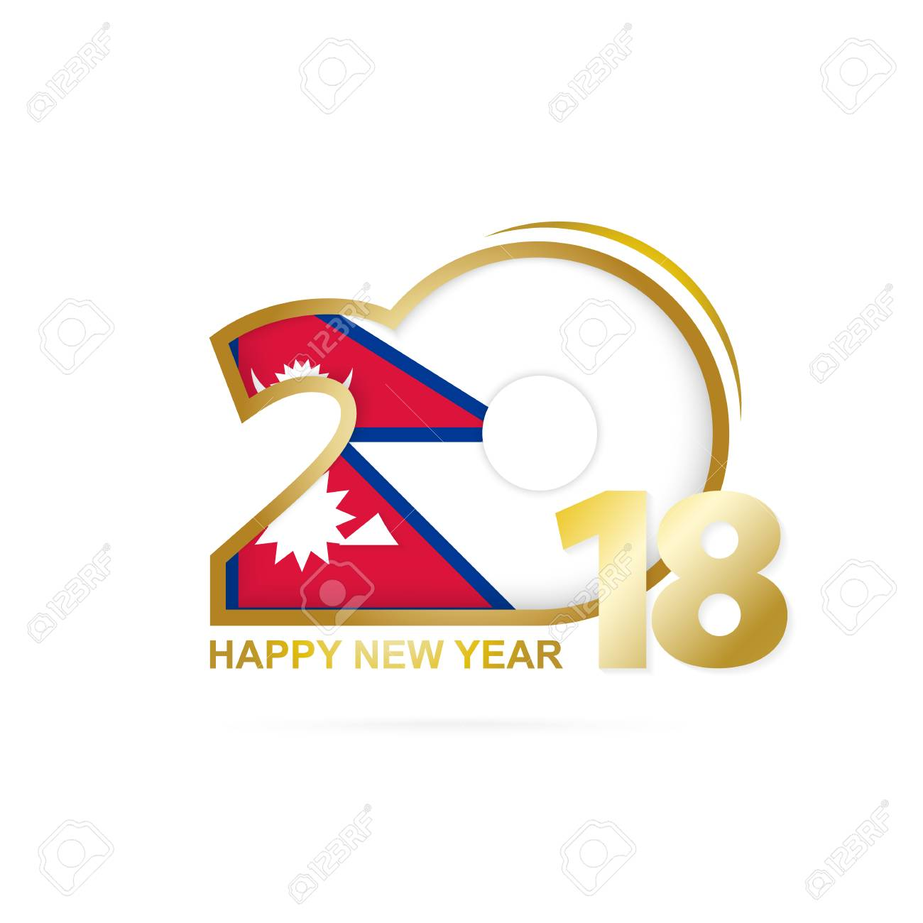 vector year 2018 with nepal flag pattern happy new year design vector illustration