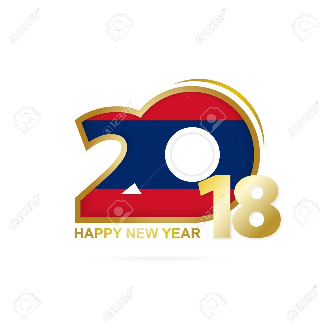 Year 2018 with Laos Flag pattern. Happy New Year Design. Vector Illustration. - 87740095