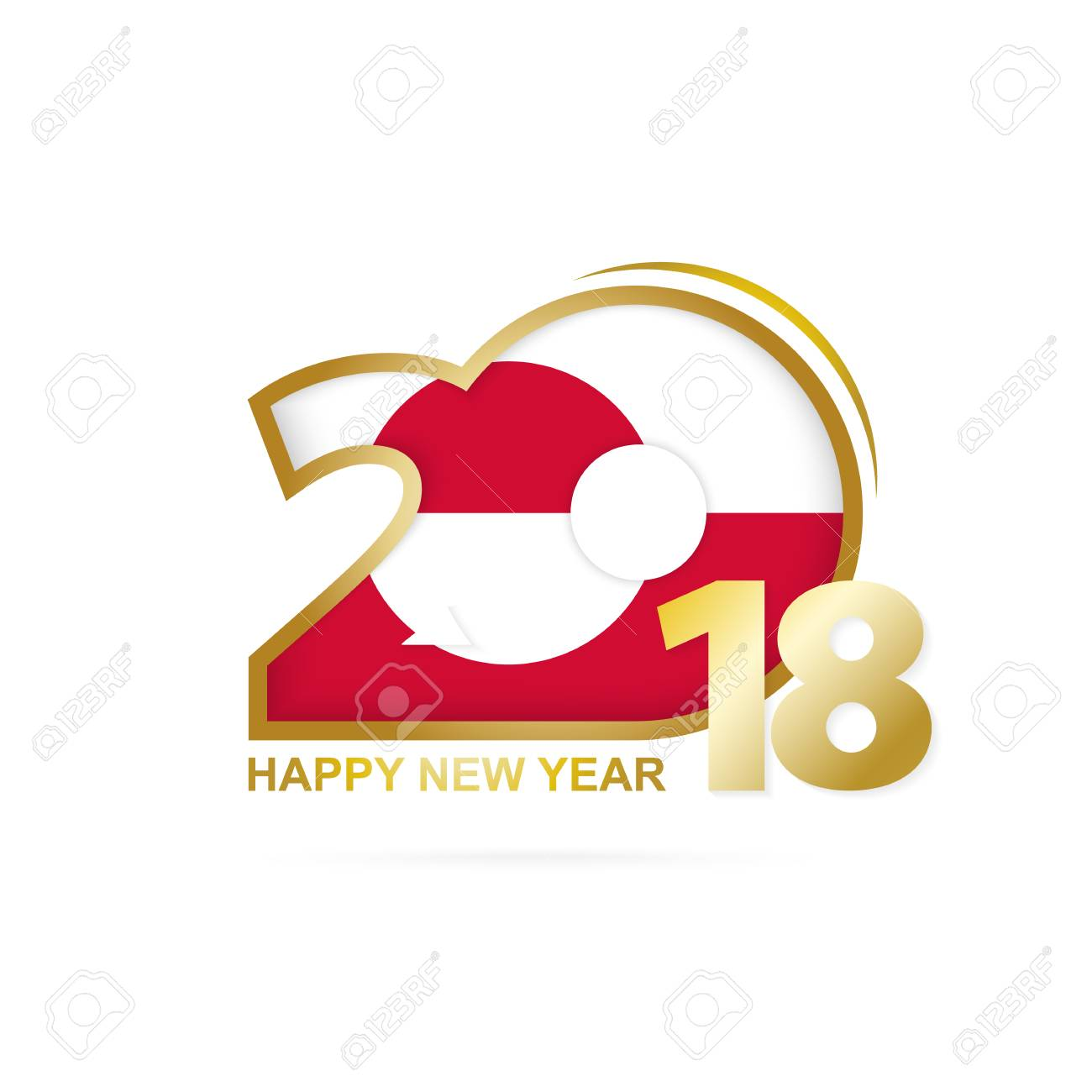 vector year 2018 with greenland flag pattern happy new year design vector illustration