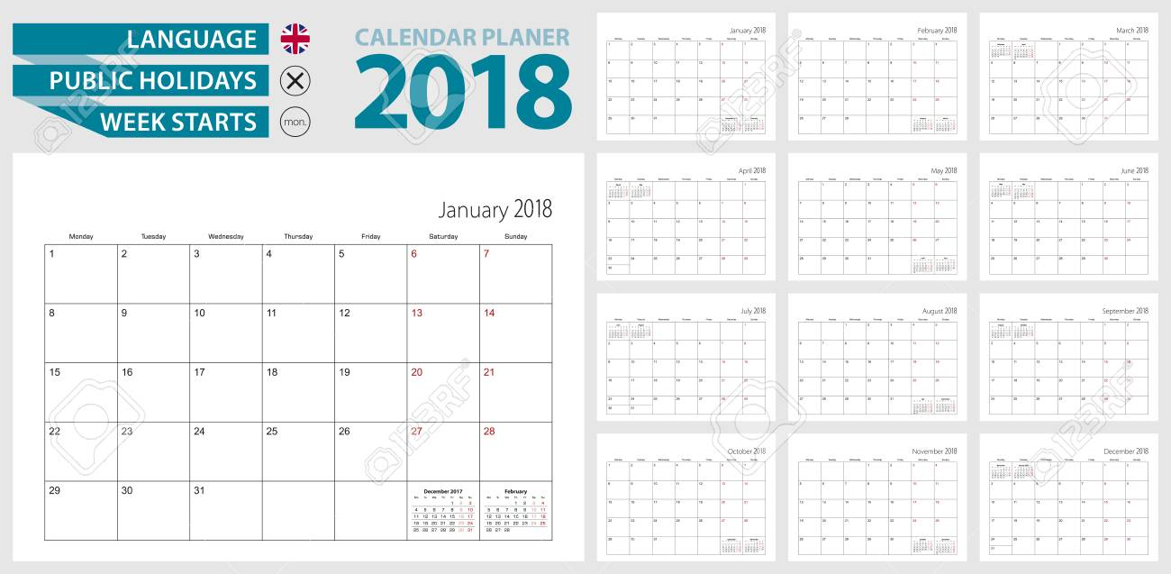 Wall calendar planner for 2018. English language, week starts from Monday. Vector template. - 88221199